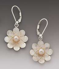 Large Daisy Earrings by Marie Scarpa (Silver & Pearl Earrings)