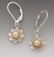Small Daisy Earrings by Marie Scarpa (Silver & Pearl Earrings)