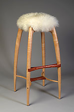 Tufted Crane Stool by Nathan Hunter (Wood Stool)