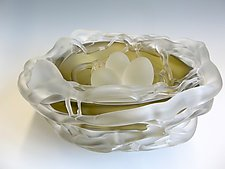 Olive Frosted Nest with Eggs by Rebecca Zhukov (Art Glass Sculpture)