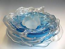 Aqua Frosted Nest by Rebecca Zhukov (Art Glass Sculpture)