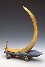 Crescent Moon Boat by Dona Dalton (Wood Sculpture)