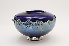 Cobalt Overlay Seed Bowl by Dierk Van Keppel (Art Glass Bowl)