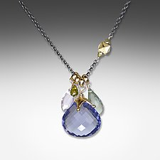 Iolite Asymmetrical Necklace by Suzanne Q Evon (Gold & Stone Necklace)