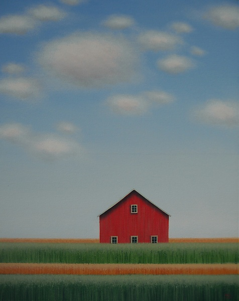 Red Barn Behind the Rows