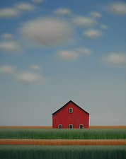 Red Barn Behind the Rows by Sharon France (Acrylic Painting)
