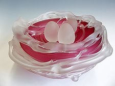 Ruby Bird Nest by Rebecca Zhukov (Art Glass Sculpture)