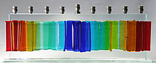 Medium Gala Rainbow Menorah by Alicia Kelemen (Art Glass Menorah)