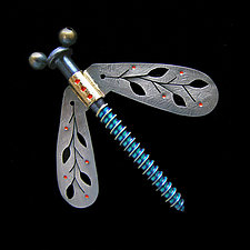 Winged Nut Pin by Lisa and Scott  Cylinder (Metal Brooch)