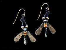 Winged Nut Earrings by Lisa and Scott  Cylinder (Metal Earrings)
