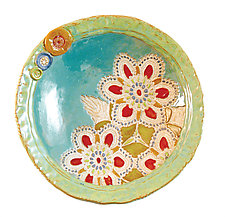 Daina's Flowers in White by Laurie Pollpeter Eskenazi (Ceramic Bowl)
