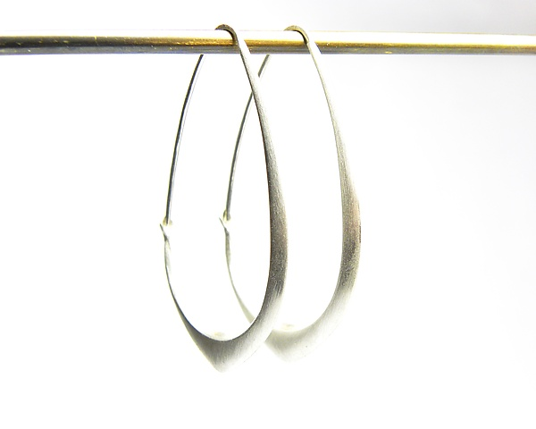 Medium Silver Facet Hoops