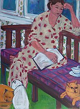 Woman, Book, and Three Cats by Elisa Root (Oil Painting)