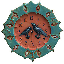 Ravens Ceramic Wall Clock in Turquoise & Terra Cotta with Stones by Beth Sherman (Ceramic Clock)