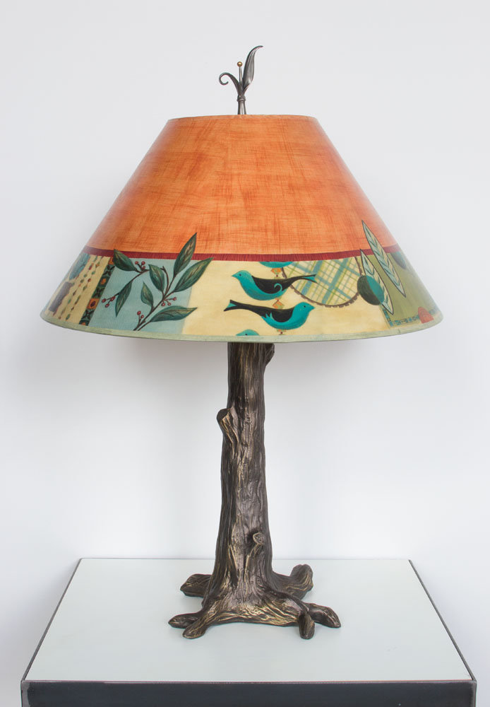 Bronze Tree Table Lamp With Large Conical Shade In New