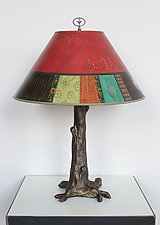 Bronze Tree Table Lamp with Large Conical Shade in Red Match by Janna Ugone and Justin Thomas (Mixed-Media Table Lamp)