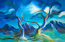 Blue Trees, Night #2 by Linda Jacobson (Acrylic Painting)