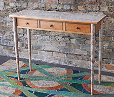 Three-Drawer Textured Table by Brad Smith (Wood Console Table)