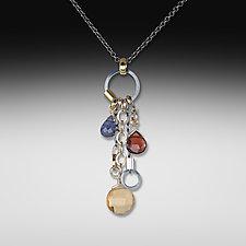 Mandarin Long Jambalaya Necklace by Suzanne Q Evon (Silver & Stone Necklace)