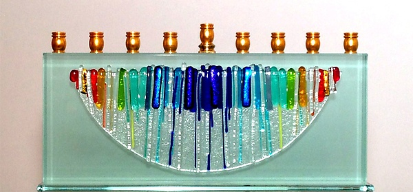 Rectangular Medium Half Moon Menorah in Rainbow