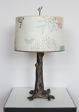 Bronze Tree Table Lamp with Large Conical Shade in Ecru Journey by Janna Ugone (Mixed-Media Table Lamp)