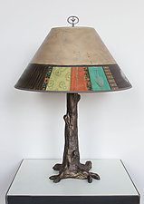 Bronze Tree Table Lamp with Large Conical Shade in Linen Match by Janna Ugone and Justin Thomas (Mixed-Media Table Lamp)