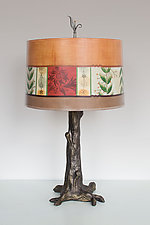 Bronze Tree Table Lamp with Large Drum Shade in Spring Medley Spice by Janna Ugone and Justin Thomas (Mixed-Media Table Lamp)