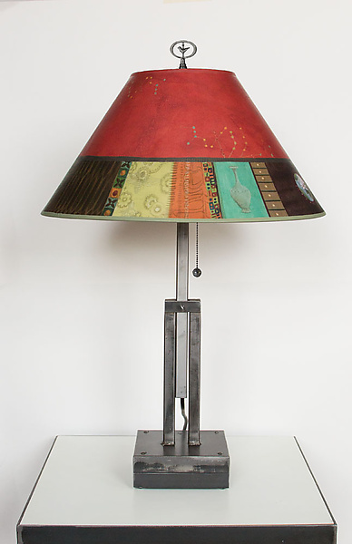 Adjustable Height Steel Table Lamp with Large Conical Shade in Red Match