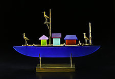 Sandpiper Ship by Georgia Pozycinski and Joseph Pozycinski (Art Glass & Bronze Sculpture)