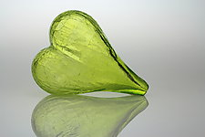 Blown Glass Heart in Lime by Tom Bloyd (Art Glass Sculpture)