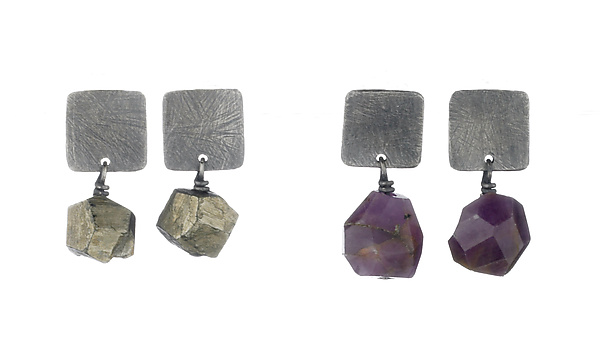 Large Carved Square Tab Earrings