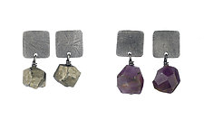 Large Carved Square Tab Earrings by Heather Guidero (Silver & Stone Earrings)