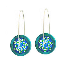 Chrysocolla Poppy Lollipop Earrings by Victoria Varga (Resin Earrings)
