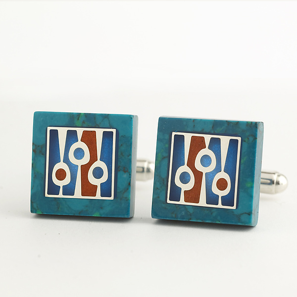 Square Chrysocolla Cuff Links