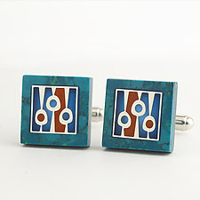 Square Chrysocolla Cuff Links by Victoria Varga (Resin Cuff Links)