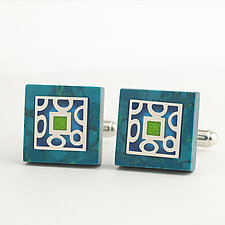 Square Chrysocolla Cuff Links II by Victoria Varga (Resin Cuff Links)