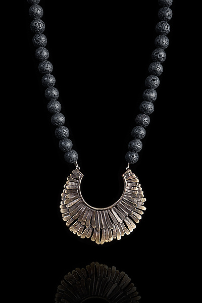 Bronze Feathered Necklace with Lava Beads
