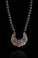 Bronze Feathered Necklace with Lava Beads by Ashley Vick (Bronze Necklace)