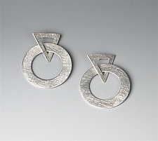 Silver Hoops and Triangles by Suzanne Linquist (Silver Earrings)