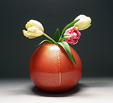 Gold Vase in Red by Scott Summerfield (Art Glass Vase)