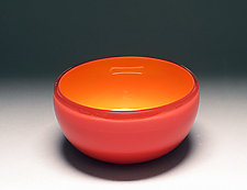 Overlay Bowl in Red and Taxi Cab by Scott Summerfield (Art Glass Bowl)