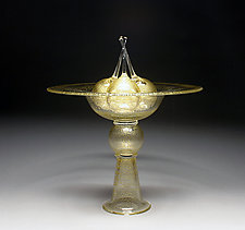 Gold Pedestal Bowl with Cherries by Scott Summerfield (Art Glass Sculpture)