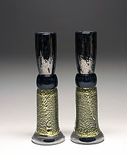 Black & Gold Candlestick Set by Scott Summerfield (Art Glass Candleholders)