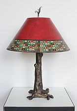 Bronze Tree Table Lamp with Large Conical Shade in Red Mosaic by Janna Ugone (Mixed-Media Table Lamp)