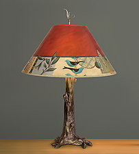 Bronze Tree Table Lamp with Large Conical Shade in New Capri by Janna Ugone and Justin Thomas (Mixed-Media Table Lamp)