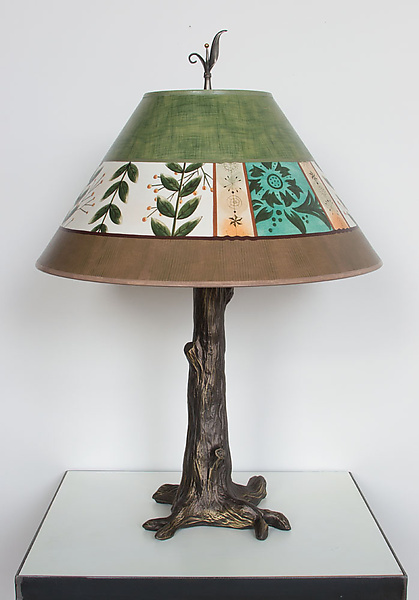 Bronze Tree Table Lamp with Large Conical Shade in Spring Medley Apple