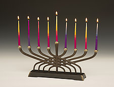 Contemporary Menorah by Scott Nelles (Metal Sculpture)