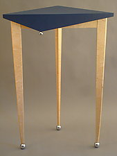 Tall Jester Table by Tim Wells (Wood & Leather Side Table)