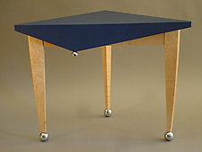 Low Jester Table by Tim Wells (Wood & Leather Side Table)