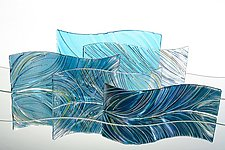 Ocean Waves by Nina Falk (Art Glass Sculpture)